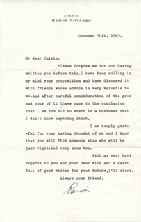 RAMON NOVARRO - TYPED LETTER SIGNED 10/30/1963