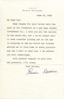 RAMON NOVARRO - TYPED LETTER SIGNED 06/18/1965