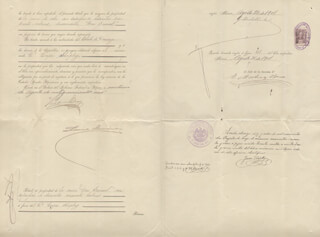 Autographs: PRESIDENT PORFIRIO DIAZ (MEXICO) - DOCUMENT SIGNED 08/21/1901 CO-SIGNED BY: GOVERNOR LEANDRO FERNANDEZ IMAS, GILBERTO HUERTA, E. MARTNEZ BACA, JUAN CASTILLO