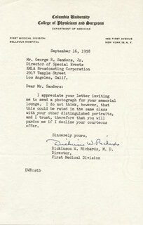 Autographs: DICKINSON W. RICHARDS - TYPED LETTER SIGNED 09/16/1958