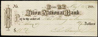 ELIPHALET REMINGTON III - AUTOGRAPHED SIGNED CHECK 08/20/1885