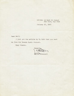 WALTER KING OF BROADWAY WINCHELL - TYPED LETTER SIGNED