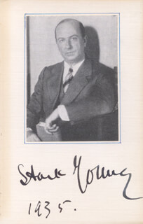 STARK YOUNG - PHOTOGRAPH MOUNT SIGNED 1935
