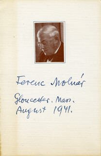 FERENC MOLNÁR - PRINTED PHOTOGRAPH SIGNED IN INK 8/1941