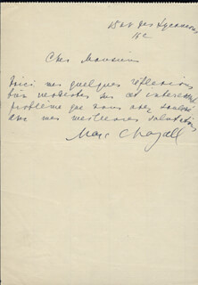 MARC CHAGALL - AUTOGRAPH LETTER SIGNED