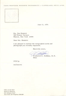 Autographs: FREDERICK C. ROBBINS - TYPED LETTER SIGNED 06/11/1976