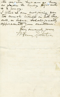 WILLIAM HENRY ROBERTSON - AUTOGRAPH LETTER SIGNED 01/18/1899