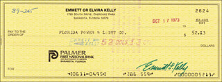 EMMETT KELLY SR. - AUTOGRAPHED SIGNED CHECK 10/17/1973