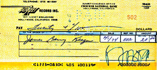 FRANK ZAPPA - AUTOGRAPHED SIGNED CHECK 02/01/1974