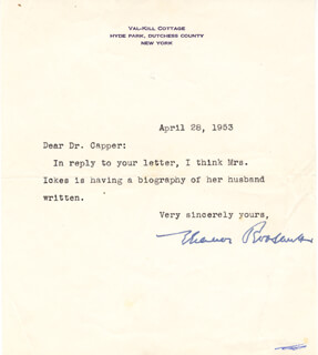 FIRST LADY ELEANOR ROOSEVELT - TYPED LETTER SIGNED 04/28/1953
