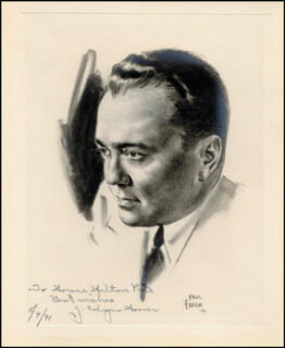 Autographs: J. EDGAR HOOVER - INSCRIBED ILLUSTRATION SIGNED 08/04/1941