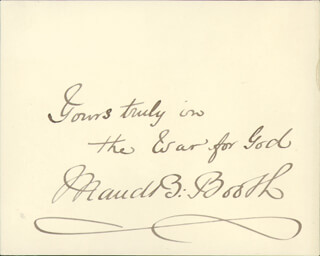 Autographs: MAUD BALLINGTON BOOTH - AUTOGRAPH SENTIMENT SIGNED