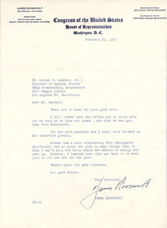 JAMES ROOSEVELT - TYPED LETTER SIGNED 02/21/1958