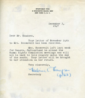 MALVINA TOMMY THOMPSON - TYPED LETTER SIGNED BY A DEPUTY 12/03/1947