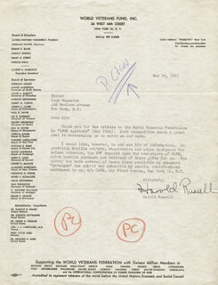 HAROLD RUSSELL - TYPED LETTER SIGNED 05/15/1953