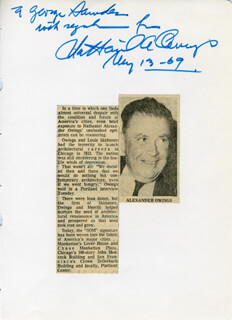 NATHANIEL A. OWINGS - AUTOGRAPH NOTE SIGNED 05/13/1969