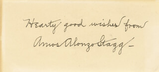 AMOS ALONZO STAGG - AUTOGRAPH SENTIMENT SIGNED