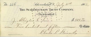 CHARLES P. STEINMETZ - AUTOGRAPHED SIGNED CHECK 07/10/1903