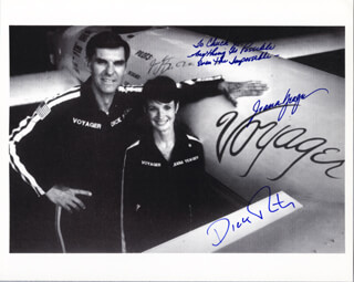 THE VOYAGER CREW - AUTOGRAPHED INSCRIBED PHOTOGRAPH CO-SIGNED BY: JEANA YEAGER, DICK RUTAN