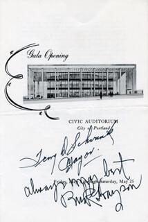 Autographs: TERRY SCHRUNK - PROGRAM SIGNED 5/25 CO-SIGNED BY: MARK A. BUCK GRAYSON