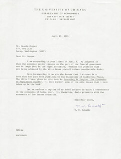 Autographs: THEODORE W. SCHULTZ - TYPED LETTER SIGNED 04/15/1981