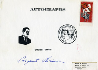 SARGENT SHRIVER - PRINTED CARD SIGNED IN INK