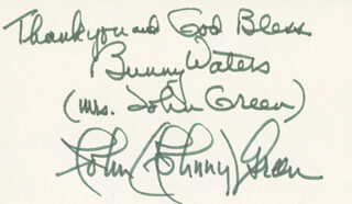 JOHNNY GREEN - AUTOGRAPH NOTE SIGNED CO-SIGNED BY: BUNNY (MRS. JOHNNY GREEN) WATERS