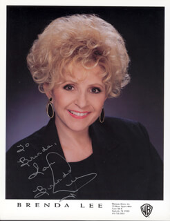 BRENDA LEE - INSCRIBED PRINTED PHOTOGRAPH SIGNED IN INK