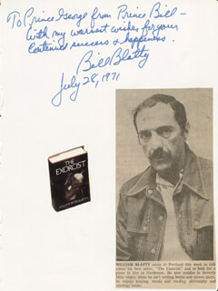 WILLIAM PETER BLATTY - AUTOGRAPH NOTE SIGNED 07/28/1971