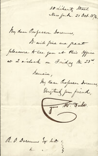 CYRUS W. FIELD - MANUSCRIPT LETTER SIGNED 10/21/1874