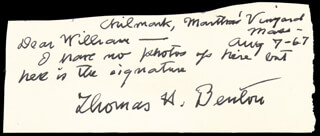 THOMAS HART BENTON - AUTOGRAPH NOTE SIGNED 08/07/1967
