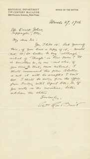 WILLIAM ROSE BENET - AUTOGRAPH LETTER SIGNED 03/29/1916