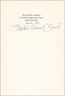 STEPHEN VINCENT BENET - BOOK PAGE SIGNED