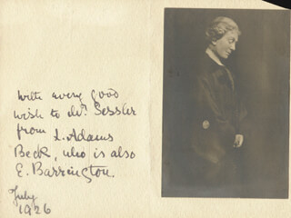 Autographs: ELIZABETH LOUISA (LILY ADAMS BECK) MORESBY - AUTOGRAPH NOTE SIGNED 7/1926