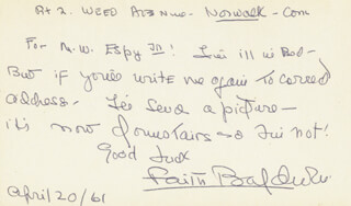 Autographs: FAITH BALDWIN - AUTOGRAPH LETTER SIGNED 04/20/1961