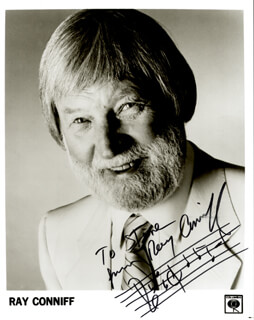RAY CONNIFF - INSCRIBED MUSICAL QUOTATION ON PHOTO SIGNED