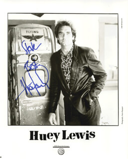 HUEY LEWIS & THE NEWS (HUEY LEWIS) - AUTOGRAPHED INSCRIBED PHOTOGRAPH