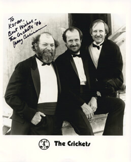 THE CRICKETS (JERRY ALLISON) - INSCRIBED PRINTED PHOTOGRAPH SIGNED IN INK 1986