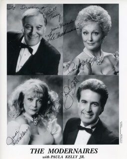MODERNAIRES - AUTOGRAPHED INSCRIBED PHOTOGRAPH CO-SIGNED BY: THE MODERNAIRES (BILL TRACY), THE MODERNAIRES (PAULA KELLY JR.), THE MODERNAIRES (JUDI WALLACE), THE MODERNAIRES (JOHN SCOTT)