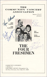 FOUR FRESHMEN - PROGRAM SIGNED CIRCA 1977 CO-SIGNED BY: THE FOUR FRESHMEN (KEN ALBERS), THE FOUR FRESHMEN (BOB FLANIGAN), THE FOUR FRESHMEN (RAY BROWN), THE FOUR FRESHMEN (ROSS BARBOUR)