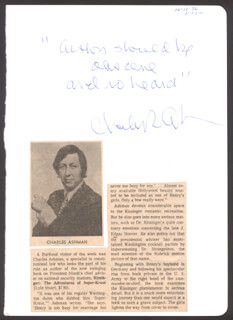 CHARLES ASHMAN - AUTOGRAPH QUOTATION SIGNED CIRCA 1972