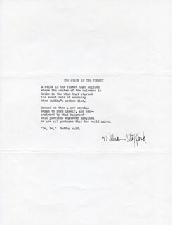 Autographs: WILLIAM STAFFORD - POEM SIGNED