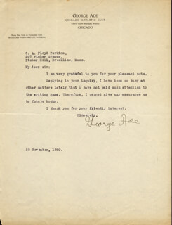 GEORGE ADE - TYPED LETTER SIGNED 11/25/1920