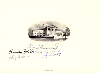 ASSOCIATE JUSTICE WILLIAM J. BRENNAN JR. - ENGRAVING SIGNED CO-SIGNED BY: ASSOCIATE JUSTICE BYRON R. WHITE, ASSOCIATE JUSTICE SANDRA DAY O'CONNOR, ASSOCIATE JUSTICE HARRY A. BLACKMUN