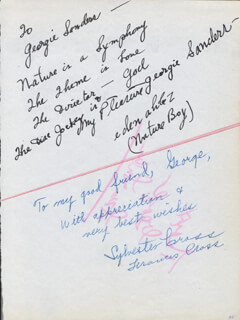 Autographs: EDEN AHBEZ - AUTOGRAPH NOTE SIGNED CO-SIGNED BY: SYLVESTER CROSS, FRANCES CROSS
