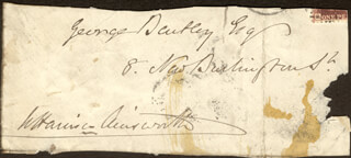 W. HARRISON AINSWORTH - AUTOGRAPH FRAGMENT SIGNED