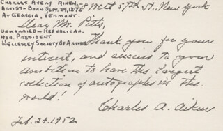 Autographs: CHARLES AVERY AIKEN - AUTOGRAPH NOTE SIGNED 02/28/1952