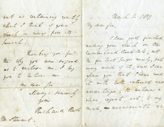 RICHARD RUSH - AUTOGRAPH LETTER SIGNED 03/01/1829