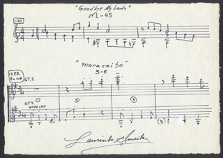 Autographs: LAURINDO ALMEIDA - AUTOGRAPH MUSICAL QUOTATION SIGNED