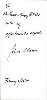 JOHN CHEEVER - AUTOGRAPH NOTE SIGNED 02/02/1979